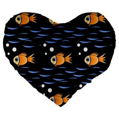Fish Pattern Large 19  Premium Flano Heart Shape Cushions by Valentinaart