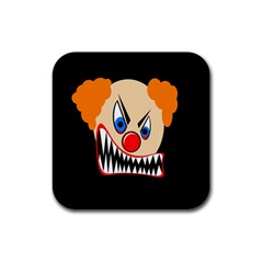 Evil Clown Rubber Coaster (square)  by Valentinaart