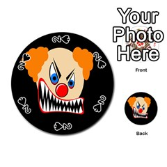 Evil Clown Playing Cards 54 (round)  by Valentinaart