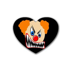 Evil Clown Rubber Coaster (heart)  by Valentinaart