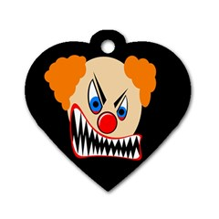 Evil Clown Dog Tag Heart (one Side) by Valentinaart