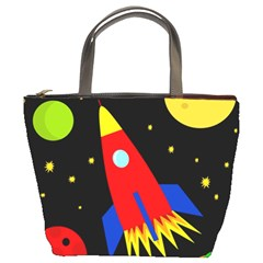 Spaceship Bucket Bags by Valentinaart