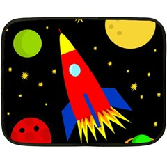 Spaceship Fleece Blanket (mini) by Valentinaart