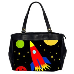 Spaceship Office Handbags (2 Sides)  by Valentinaart