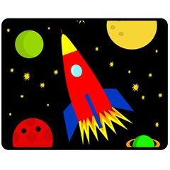 Spaceship Double Sided Fleece Blanket (medium)  by Valentinaart