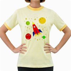 Transparent Spaceship Women s Fitted Ringer T Shirts