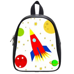 Transparent Spaceship School Bags (small)  by Valentinaart