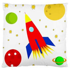 Transparent Spaceship Large Cushion Case (one Side) by Valentinaart