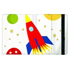Transparent Spaceship Apple Ipad 2 Flip Case by Valentinaart