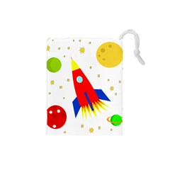 Transparent Spaceship Drawstring Pouches (small)  by Valentinaart