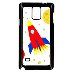 Transparent Spaceship Samsung Galaxy Note 4 Case (black) by Valentinaart