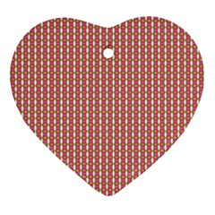 Mod Pink Green Pattern Heart Ornament (2 Sides) by BrightVibesDesign