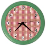 Mod Pink Green Pattern Color Wall Clocks Front