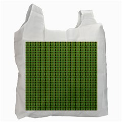 Mod Green Orange Pattern Recycle Bag (one Side) by BrightVibesDesign