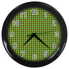 Mod Green Orange Pattern Wall Clocks (black)