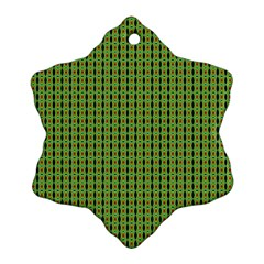 Mod Green Orange Pattern Ornament (snowflake)  by BrightVibesDesign