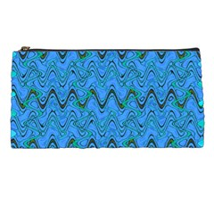 Blue Wavy Squiggles Pencil Cases by BrightVibesDesign