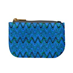 Blue Wavy Squiggles Mini Coin Purses by BrightVibesDesign