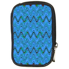 Blue Wavy Squiggles Compact Camera Cases by BrightVibesDesign