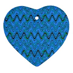Blue Wavy Squiggles Heart Ornament (2 Sides) by BrightVibesDesign