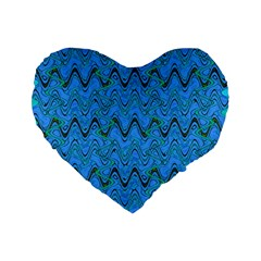 Blue Wavy Squiggles Standard 16  Premium Flano Heart Shape Cushions by BrightVibesDesign