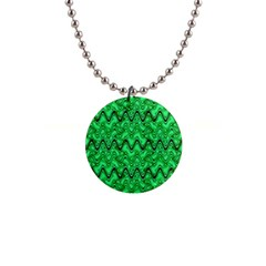 Green Wavy Squiggles Button Necklaces by BrightVibesDesign