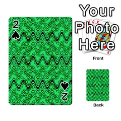 Green Wavy Squiggles Playing Cards 54 Designs