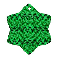 Green Wavy Squiggles Snowflake Ornament (2 Side) by BrightVibesDesign
