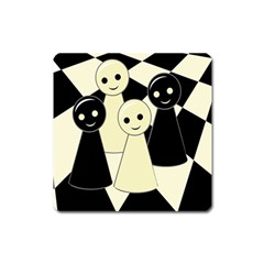 Chess Pieces Square Magnet