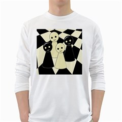 Chess Pieces White Long Sleeve T-shirts by Valentinaart