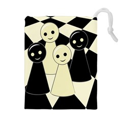 Chess Pieces Drawstring Pouches (extra Large) by Valentinaart