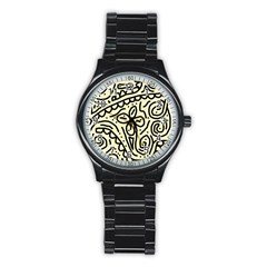 Artistic Abstraction Stainless Steel Round Watch by Valentinaart