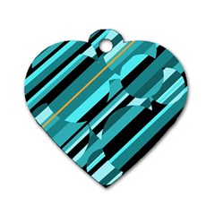 Blue Abstraction Dog Tag Heart (two Sides) by Valentinaart