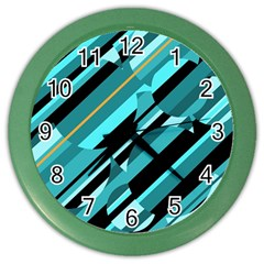 Blue Abstraction Color Wall Clocks by Valentinaart