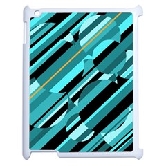 Blue Abstraction Apple Ipad 2 Case (white) by Valentinaart