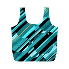 Blue Abstraction Full Print Recycle Bags (m)  by Valentinaart