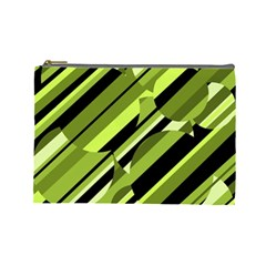 Green Pattern Cosmetic Bag (large)  by Valentinaart