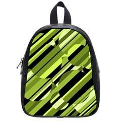 Green Pattern School Bags (small)  by Valentinaart