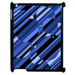 Blue pattern Apple iPad 2 Case (Black) Front