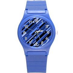 Blue Pattern Round Plastic Sport Watch (s) by Valentinaart