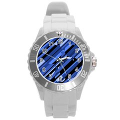 Blue Pattern Round Plastic Sport Watch (l) by Valentinaart
