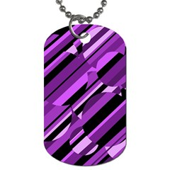 Purple Pattern Dog Tag (two Sides) by Valentinaart