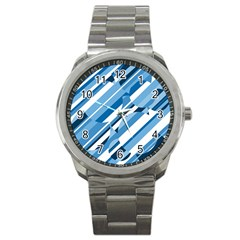 Blue Pattern Sport Metal Watch by Valentinaart