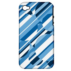 Blue Pattern Apple Iphone 4/4s Hardshell Case (pc+silicone) by Valentinaart