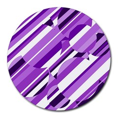 Purple Pattern Round Mousepads by Valentinaart