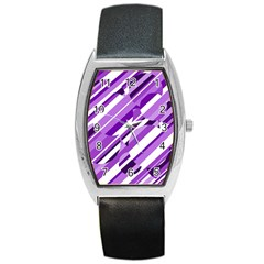 Purple Pattern Barrel Style Metal Watch by Valentinaart