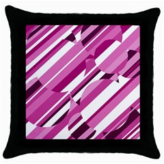 Magenta Pattern Throw Pillow Case (black) by Valentinaart