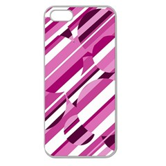 Magenta Pattern Apple Seamless Iphone 5 Case (clear) by Valentinaart