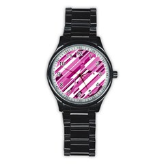 Magenta Pattern Stainless Steel Round Watch by Valentinaart