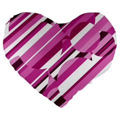 Magenta Pattern Large 19  Premium Flano Heart Shape Cushions by Valentinaart
